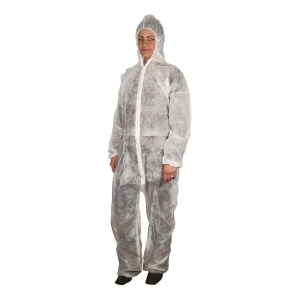 PROTECTIVE COVERALL CAT1 WHITE SIZE L/XL 50 PCS/BOX