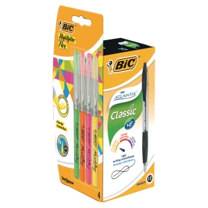 Kuglepen BIC Atlantis, sort, pakke a 12 stk. + 4 gratis highlightere