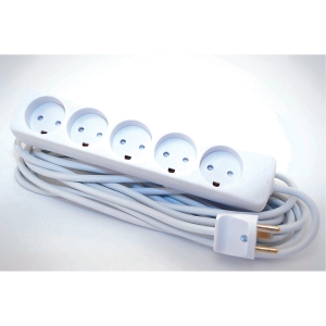 POWER AC 5 SOCKETS GROUNDING 5M WHITE