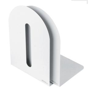 Bogstøtte metal, 20 x 20 cm, hvid, pakke a 2 stk.