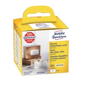 Pakkeetiketter Avery, 54 x 101 mm, rulle a 220 etiketter