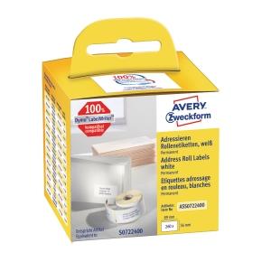 Adresseetiketter Avery, 36 x 89 mm, pakke med 1 ruller a 260 stk.