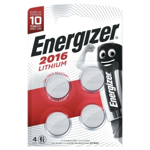 Knapcelle batterier Energizer Lithium CR2016, 3V, pakke a 4 stk.