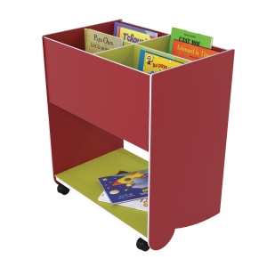 BOGKASSE MED HJUL PAPERFLOW RED/LIME