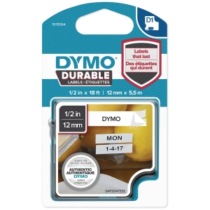 DYMO D1 1978364 DURABLE TEKSTTAPE 12MM SORT/HVID