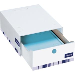 Opbevaringsskuffe Lyreco Premium 14 cm hvid pakke a 10 stk