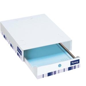 Opbevaringsskuffe Lyreco Premium 7 cm hvid pakke a 10 stk