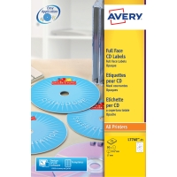 LASERETIKETT CD AVERY L7760-25 FÄRGLASER DIAMETER 117MM 50 ST/FP