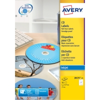 ETIKETT TILL CD INKJET AVERY J8676-25 DIAMETER 117MM MATT 50/FP