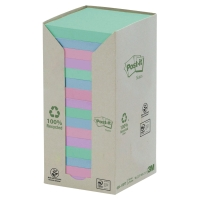 POST-IT RECYCLED NOTES PASTELL FÄRGER 654-1RPT 76MM X 76MM 16 BLOCK/FP