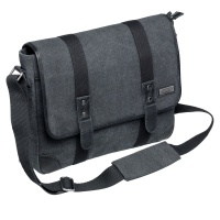 VÄSKA PIERRE WASHED CANVAS MESSENGER MÖRKBLÅ