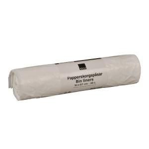 Soppåse 12my 51x57 30l vit 100 st/fp