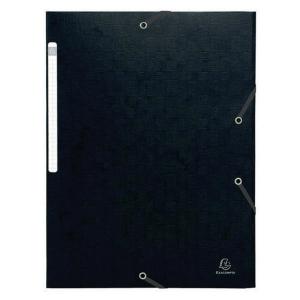 Gummibandsmapp Exacompta, 3 klaffar, 600 g, A4, svart