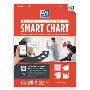 Blädderblockspapper Oxford Smart Charts, olinjerat, 60 x 80 cm, förp. med 3 st