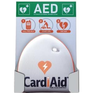 Väggfäste och skylt til AED hjärtstartare