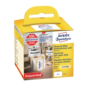 Etiketter Avery Heavy Duty, 57 x 32 mm, förp. med 400 st.