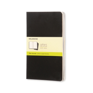 Anteckningsbok Moleskine Cahier L, olinjerad, mjukt omslag, 13x21cm, svart
