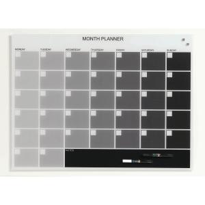 Glastavla NAGA, magnetisk månadskalender med engelsk text 60 x 80 cm
