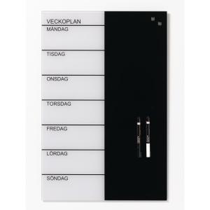 Glastavla NAGA, magnetisk veckokalender med svensk text 40 x 60 cm