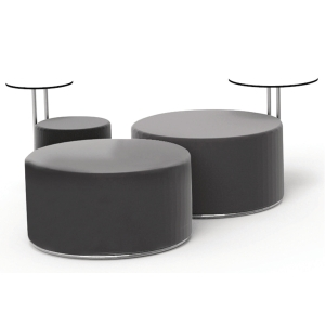 CALL LOUNGE PUFF W/TABLE LTH 90CM BLK