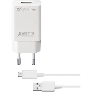 Laddare Cellularline Micro USB 15 W, 1 m, vit