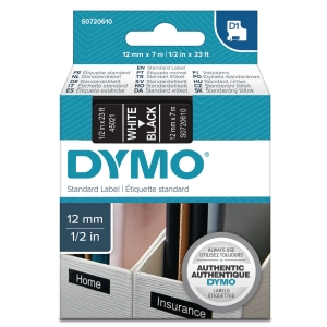DYMO 45021 TAPE 12MM WHITE ON BLACK
