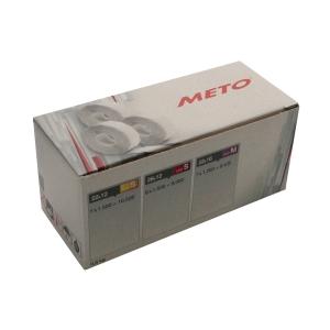 Prisetiketter METO till Eagle L, permanenta, 32x19mm, neonröda, förp. 5 rullar
