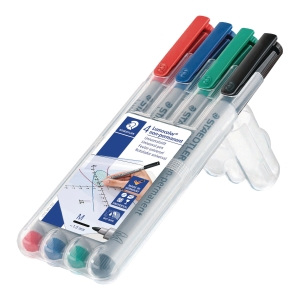 Icke-permanent universalpenna Staedtler Lumocolor 315, medium-spets, 4 st/fp