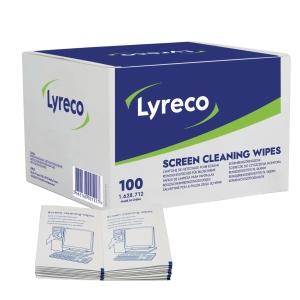 Rengöringsservett Lyreco, för rengöring av skärm, förp. med 100st.