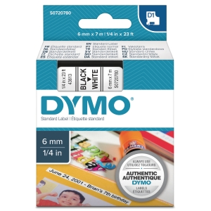 DYMO D1 LABELLING TAPE 7M X 6MM - BLACK ON WHITE