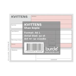 Kvittensblock Burde, A6L, 50 sidor