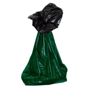Sopsäck 2-skikt pe 160 liter grön/svart 25 st/rulle