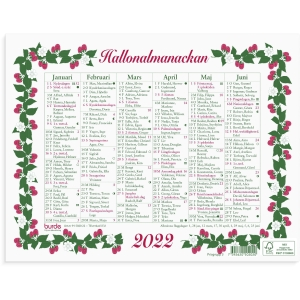 Kalender Burde 91 5020 Lilla Hallonalmanackan 245 x 190 mm