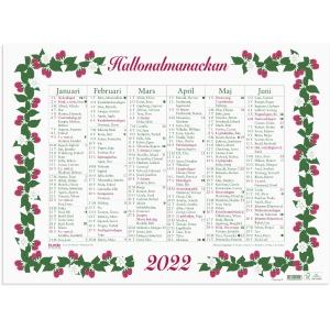 KALENDER BURDE 91 5010 STORA HALLONALMANACKAN MED NAMNSDAGAR 490X360MM