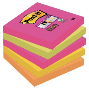 Post-it® Super Sticky Notes 654SN Cape Town 76mm x 76mm 5 Block/Fp