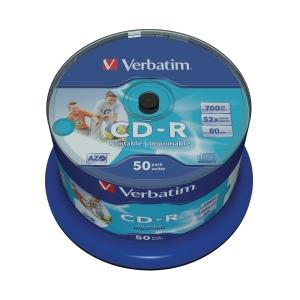 CD-R Verbatim 700mb på spindel printbar 50 st/fp
