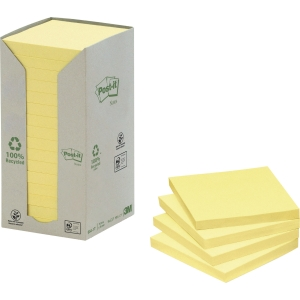 Post-it® Recycled Notes Gul 654-1T 76mm x 76mm 16block/fp