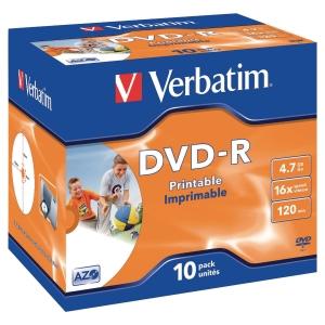 DVD-R bx10 Verbatim i/jet skrivbar jewel