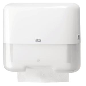 Dispenser Tork Mini H3, för pappershanddukar av Zig-Zag och Centerfold-typ, vit