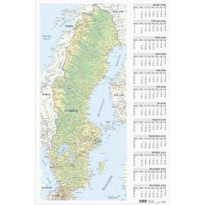 Kalender Burde 91 5085 Väggblad med Sverigekarta 590 x 890 mm