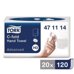 Pappershandduk Tork H3 Advanced, C-fold, förp. med 20 paket