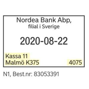 /NORDEA KASSASTÄMPEL - N1