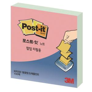 POST-IT KR330 Z-NOTE PAD 76X76 PINK/MINT