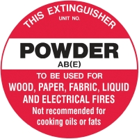 FIRE EXTINGUISHER ABE POWDER DISC SIGN 200MM - EACH