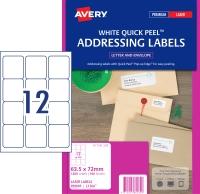 AVERY QUICK PEEL ADDRESS LABELS, LASER PRINTERS, 63.5X72MM, 1200 LABELS L7164