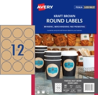 AVERY L7106 BROWN KRAFT ROUND - 12UP 60MM DIA PACK OF 15