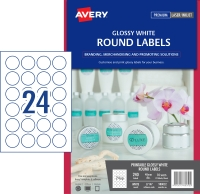 AVERY L7147 GLOSS ROUND LBL - 24UP 40MM PACK OF 10