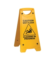 OATES A FRAME  CAUTION WET FLOOR CLEANING IN PROGESS  SIGN YELLOW - EACH