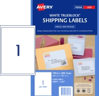 AVERY TRUEBLOCK SHIPPING LABELS, LASER PRINTERS, 199.6X289.1MM, 100 LABELS L7167