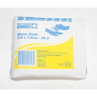 FIRST AIDERS CHOICE GAUZE STERILE STRIPS 7.5CM X 7.5CM - PACK OF 5
